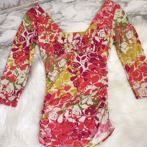 Gorgeous ruched rayon CAbi XS floral 3/4 EUC